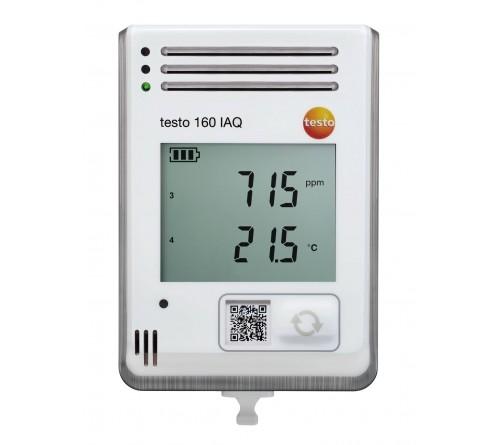 testo 160 IAQ - Ekranlı ve sıcaklık, nem, CO2 ve atmosferik basınç için entegre sensörlü kablosuz veri kayıt cihazı